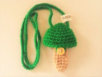 ホルン マウスピースケース(毛糸)キノコ型【緑色】首掛け用の画像