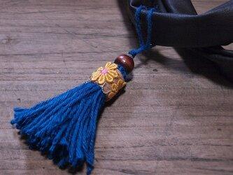 ❁オリエンタルフラワーのヘンプタッセル 麻❁【XLサイズ】バッグチャーム・キーホルダー ブルーの画像
