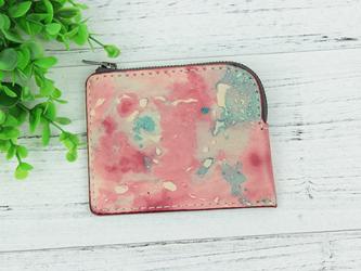 本革手縫い仕上げ 自然の色合い手染めコインケース ♪Pink♪の画像