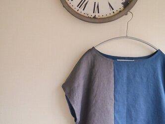 リネン2カラーフレンチスリーブ(グレー&ダークブルー)の画像