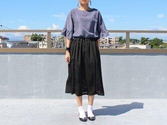 ●sale●着物リメイク・黒着物のシースルースカート・M の画像