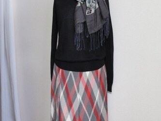 アーガイル柄のソフトプリーツスカートの画像