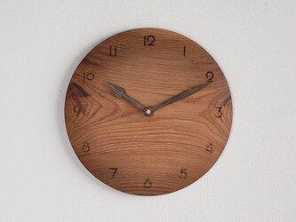 木製 掛け時計 丸 楢(ナラ)材22の画像