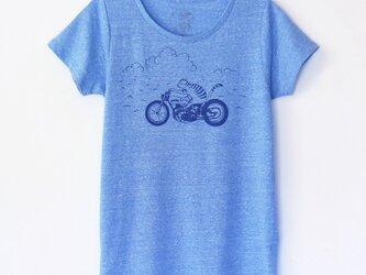 ネコくんのTシャツ lady's blue×navyの画像