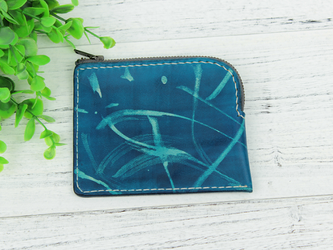 本革手縫い仕上げ 自然の色合い手染めコインケース  ♪Blue♪の画像