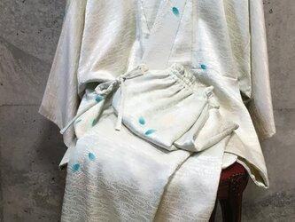 淡いブルー 着物リメイクの作務衣の画像
