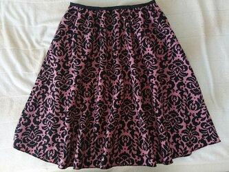 black×pinkフラワープリントギャザースカートの画像