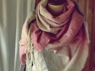 手織り リトアニアウール糸 ショールの画像