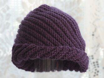 毛100% ななめ編みのニット帽子(青むらさき色)の画像