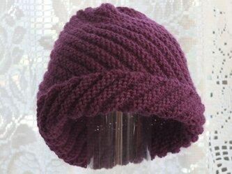 毛100% ななめ編みのニット帽子(ワインレッド)の画像