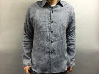 本近江織麻布手もみシャツ(白×濃紺)の画像