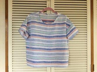受注制作:爽やかなボーダー柄~上質リネンの布帛Tシャツの画像