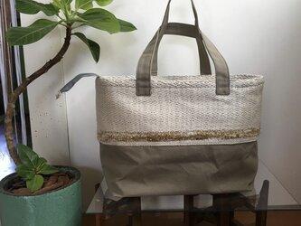 手織り布×帆布のトートバッグ(大きいサイズ) ーSHIRO絹ー ※一点物の画像