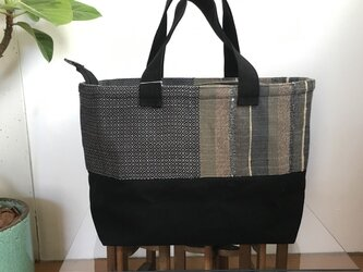 手織り布×帆布のトートバッグ(大きいサイズ) ーKURO絹ー ※一点物の画像