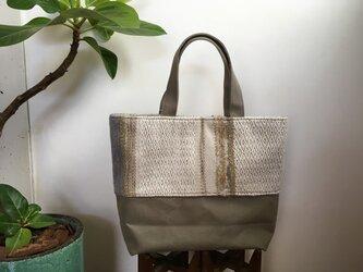 織地×帆布 トートバッグ(小さいサイズ)ーSHIRO絹ーの画像