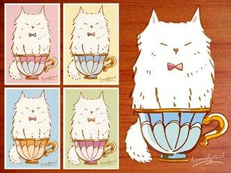 ティーカップねむネコポストカード★4枚セットの画像