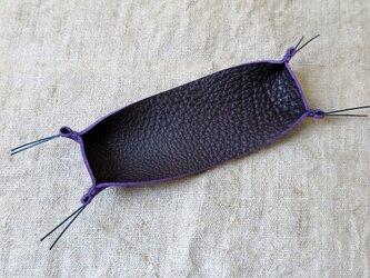 色鮮やかな革のペントレー 紫 手縫い糸:ネイビーの画像