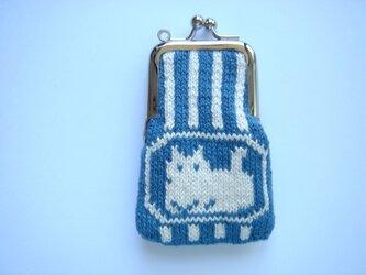 編み込みのがま口 猫 ミニの画像