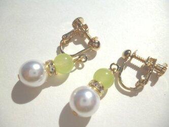 カルセドニー・ロンデル・パールのイヤリングの画像