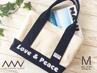 """帆布xデニムの""""Love & Peace""""プリント入り肩掛けトートバッグの画像"""