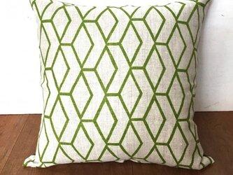 ヴィンテージ生地クッションカバー( Swedish Linen Green) の画像