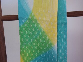 国産シルク100%小紋&手描き染めストール -Blue&Yellow-の画像