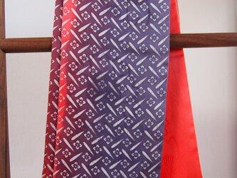国産シルク100%小紋&手描き染めストール -Red&Purple-の画像
