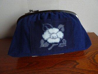 手織り久留米絣:椿のセカンドバッグ(B-36)の画像