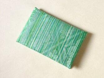 絹手染カード入れ(縦・薄緑系)の画像
