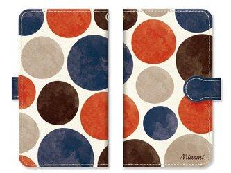 手帳型 水彩画 ドット 水玉 スマホケース 和風カラーの画像