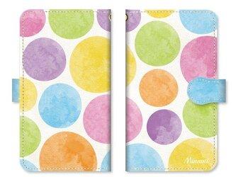 手帳型 水彩画 ドット 水玉 スマホケース カラフル キャンディーの画像