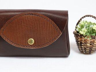 万能な小財布★タンニン鞣し★焦げ茶③★お札からカードまで(6912)の画像