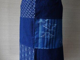 手織り久留米絣:飛び鶴のエプロン(A-4)の画像