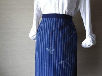 手織り久留米絣:段染めリボン散らしのエプロン(A-1)の画像