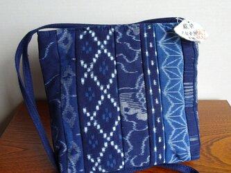 手織り久留米絣:8枚パッチワークのショルダーバッグ(B-28)の画像