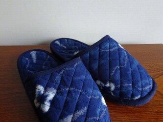 手織り久留米絣:花柄のスリッパ(S-4)の画像