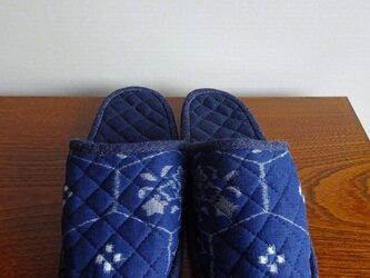手織り久留米絣:六角ラインのスリッパ(S-2)の画像