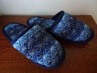 手織り久留米絣:段染め麻の葉のスリッパ(S-1)の画像