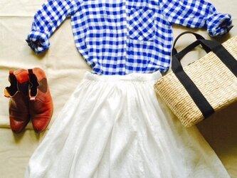 ホワイトリネンギャザースカートの画像