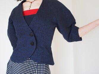ツボミ膨らむお袖のジャケット joe  濃紺ジャガード の画像