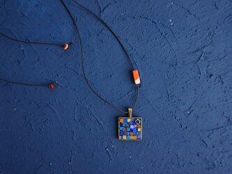 ガラスモザイクネックレス スパイス・ブルーオレンジの画像