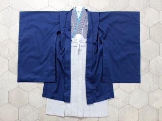 ◆羽織袴セット/紺縞/5歳【受注生産】の画像