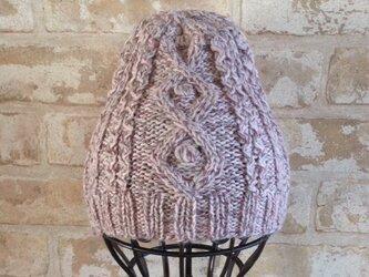 【受注後製作】ニット帽アルパカ×ラムウール(折り返しなし)ピンク・ボルドー系 の画像
