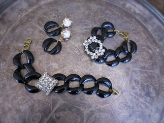 ヴィンテージビジューブレスレットvintage bracelet black steel chain <STE-RB2>の画像