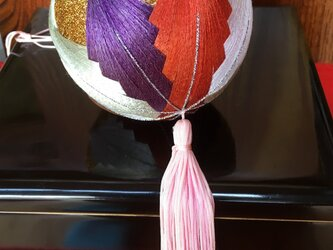 手作り手鞠③ 10cm赤・紫・金の手作り手鞠 訳あり焼けありの画像