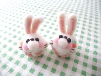 羊毛フェルト 双子うさぎちゃん2点セット☆の画像