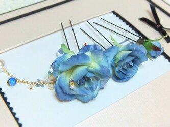 花かんざし(Uピン)スィートローズ チャーム☆*:くすみブルーの画像