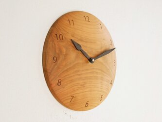 木製 掛け時計 丸 桜材3の画像