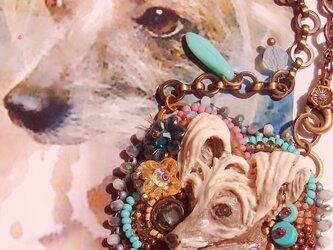 うちの子 ビーズ刺繍チャーム(オーダー参考作品 チャイニーズ・クレステッド・ドッグ)の画像