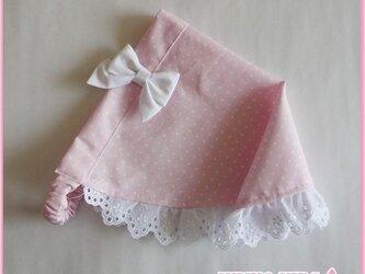 【再販】リボン付き三角巾−ピンクドットレースつきの画像